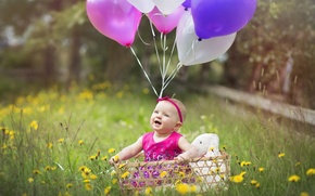 Picture balls, joy, happiness, basket, surprise, girl