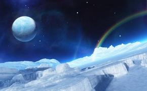Wallpaper rainbow, planet, ice