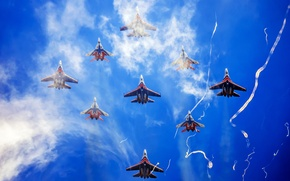 """Picture The sky, Su-27, The MiG-29, Aerobatic team, """"Swifts"""", """" Russian Knights"""""""
