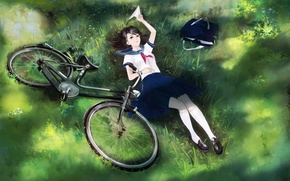 Picture girl, bike, anime, art, form, schoolgirl, bag, airplane, yong kit lam