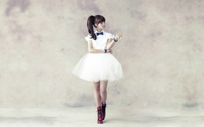 Picture Asian, grey background, white dress, South Korea, Kpop, A PINK