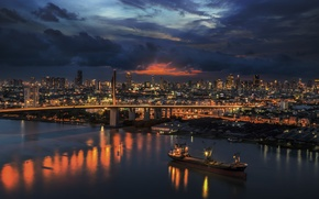 Picture road, clouds, sunset, city, the city, building, the evening, Thailand, Bangkok, Bangkok