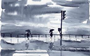 Picture sea, street, watercolor