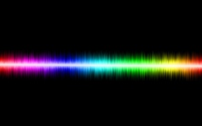 Picture wave, color, black background, sound