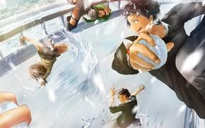 Picture winter, girls, anime, art, guys, students, senni, snowballs