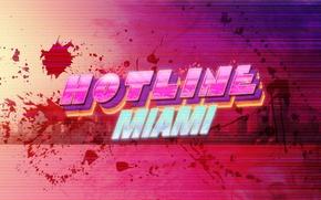 Picture blood, the game, neon, logo, Miami, hotline miami