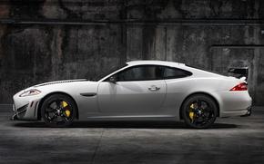 Picture white, Jaguar, Jaguar, side view, XKR-S