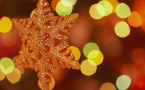 Wallpaper macro, lights, holiday, star, new year, 1920x1200