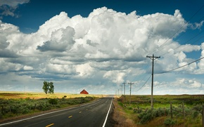 Picture road, clouds, power line, red barn