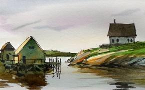 Picture water, landscape, house, figure, picture, watercolor