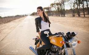 Picture road, Girls, girl Raquel, posing on a motorcycle Royal Enfield Continental GT