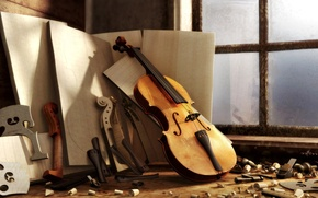 Picture violin, Workshop, window, wood, sawdust