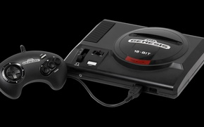 Picture logo, game, black, retro, video game, console, Sega, cartridge, Sega Genesis, Joystick, Sega Mega Drive, …