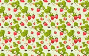 Wallpaper berries, pattern, bees, strawberry