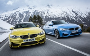 Picture snow, blue, nature, mountain, BMW, gold, BMW