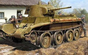 Picture figure, art, light tank, Fast tank, BT-7M, Soviet wheeled-tracked tank