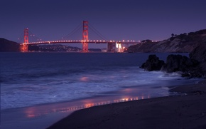 Picture the sky, night, bridge, the city, lights, Strait, stones, shore, lighting, CA, San Francisco, Golden …