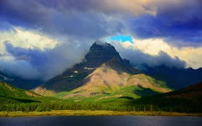Picture mountain, clouds, Rocky mountains, Glacier national Park, Montana, lake, Mount Wilbur, clouds, the sky, forest, ...
