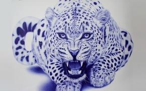 Wallpaper beast, art, Eva Garrido, leopard