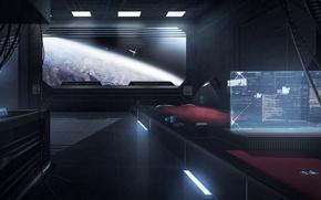 Picture space, art, sci-fi, cabin