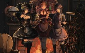 Picture balls, girls, fire, holiday, tree, anime, art, fireplace, garland, tray, qianqian, dangan ronpa, mail kyouko, …