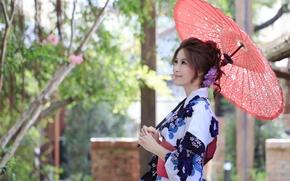 Picture summer, girl, umbrella, Asian
