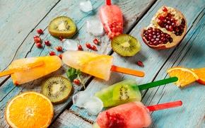 Picture fruit, ice cream, fruit ice