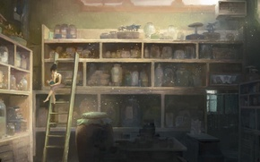 Picture table, woman, ladder, banks, shelves, cabinets, Laboratory
