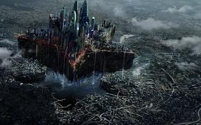 Picture the city, fiction, star, Moscow, skyscrapers, art, destruction, ruins, megapolis