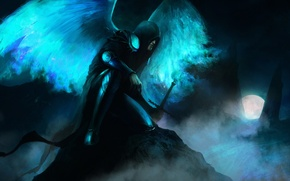 Picture night, lights, wings, sword, armor, The moon, hood, The demon, cloak