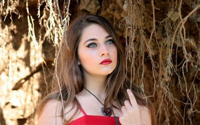 Picture girl, decoration, branches, portrait, makeup, hairstyle, in red, cute