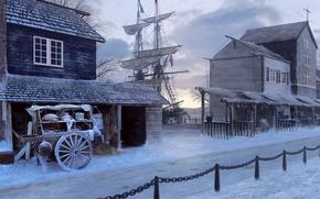 Picture winter, road, ship, home, sailboat, wagon