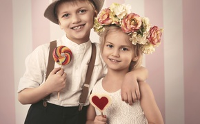 Picture flowers, smile, boy, small, hugs, candy, girl, love, friends, wreath, smile, flowers, sweet, sweet, child, …