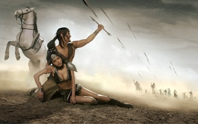 Picture white, girl, horse, anger, fatigue, male, guy, fantasy, arrows, wound, ponytail