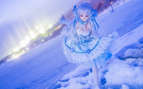 Wallpaper winter, snow, mood, toy, doll