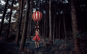 Wallpaper forest, trees, balloon, the situation, flight, girl