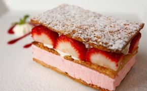 Picture food, beauty, cream, strawberry, pie, white background, cake, yummy, cream, dessert, dumb-dumb, slices, cake, jam, …