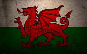 Picture dragon, flag, coat of arms, Wales