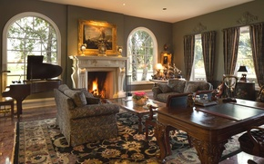 Picture design, table, fire, piano, fireplace, sofas