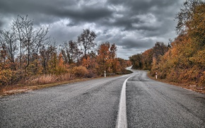 Picture road, autumn, cloudy