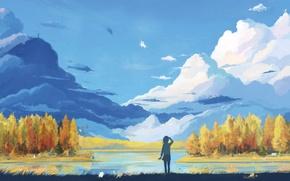 Wallpaper dream, water, clouds, trees, landscape, lake, figure, girl, art