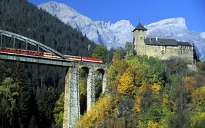 Picture forest, the sky, trees, mountains, bridge, castle, tower, train, support, Austria