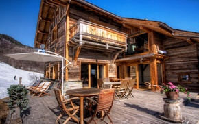 Picture winter, snow, flowers, table, interior, wooden, house, chairs. sun loungers