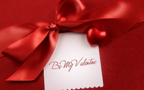 Wallpaper text, the inscription, fabric, bow, heart, Valentine's day, 14 Feb, valentine's day