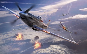 Picture the sky, aviation, war, explosions, fighters, aircraft, game wallpapers, War Thunder