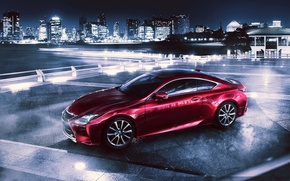 Picture night, the city, Marina, Lexus, megapolis, RC 350