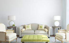 Picture room, sofa, carpet, pillow, chairs, lamps, tables