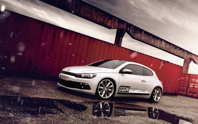 Picture snow, reflection, volkswagen, puddle, tuning, Volkswagen, scirocco