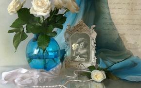 Picture letter, retro, photo, portrait, roses, texture, necklace, girl, vintage