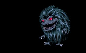 Picture the dark background, monster, alien, alien, toothy, hairy, Critters, Critters